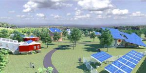 Pictrographic view of city powered with solar power solutions from leading UPS manufactures