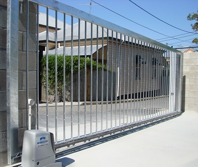 Side view of beautifully designed automatic security gates.